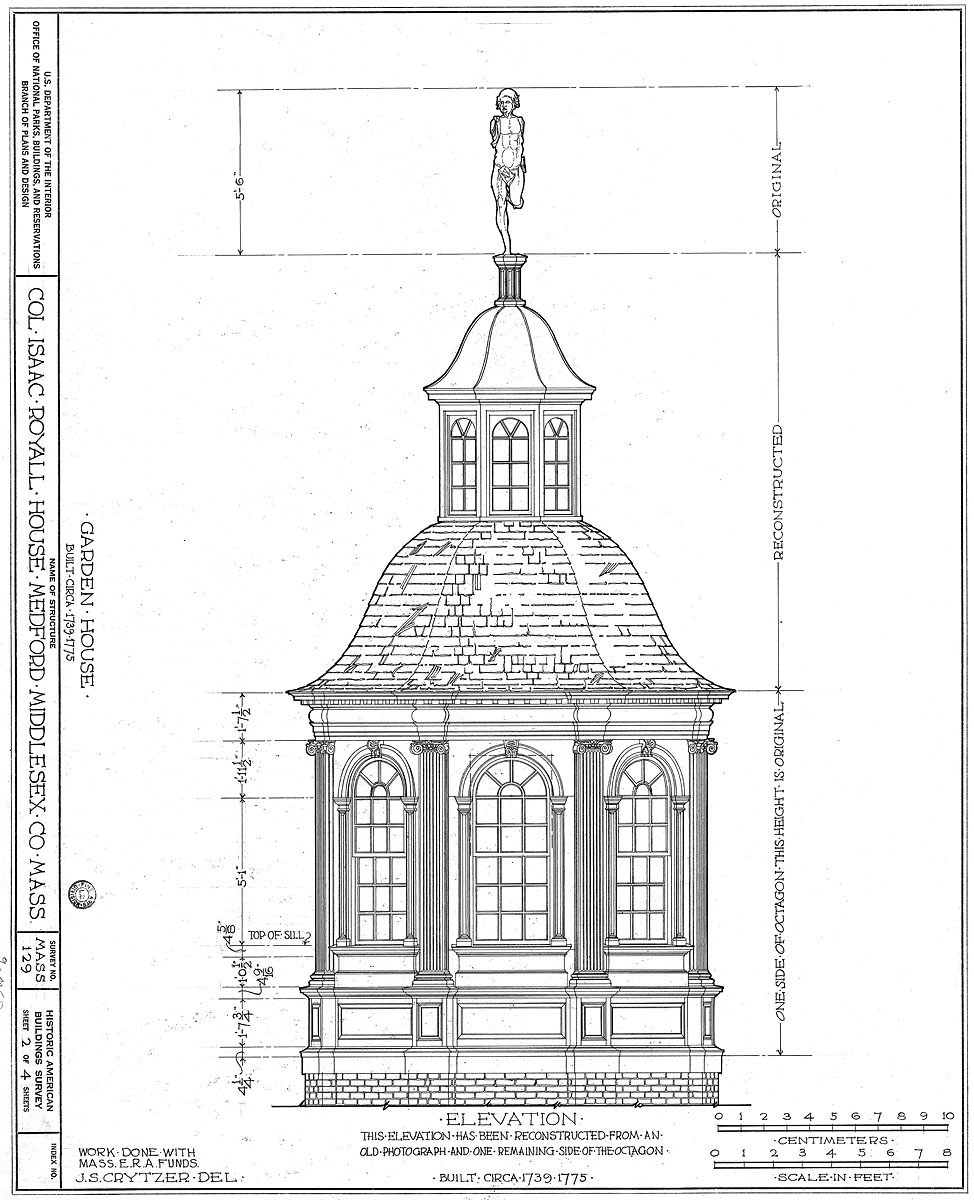 HABS architectural drawing of the summer house, by Medford resident Jacob S. Crytzer, 1935 reconstruction rendering